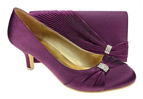 91f1bd2709c5 Chic Feet Womens Purple Party Wedding Prom Evening Shoes   Matching Bag  (Size 5