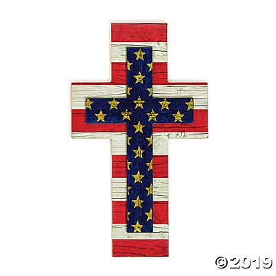 Fun Express Patriotic Wall Cross for Fourth of July (Wood) Religious Home ()