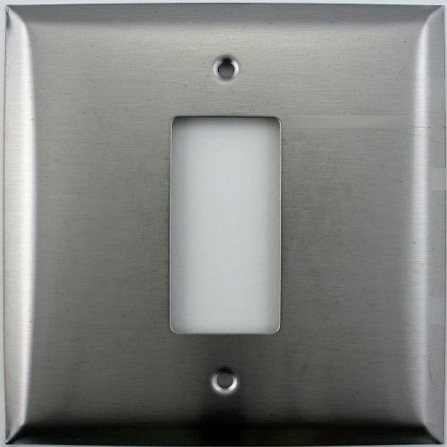 Oversized Jumbo Satin Stainless Steel Two Gang Wall Plate One GFI/Rocker Opening