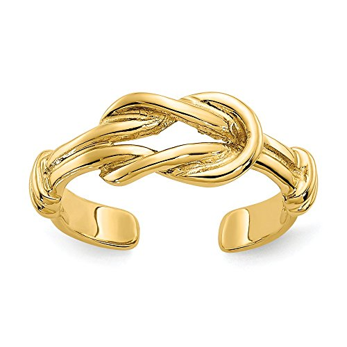 14k Yellow Gold Love Knot Toe Ring by JewelryWeb