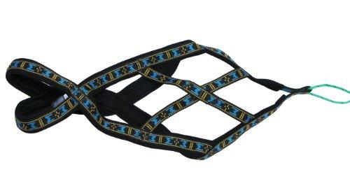 Image of Weight Pulling Sledding Dog Harness X-back Style Black/Blue EXLarge, 27.5