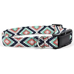Aztec Summer Black and Turquoise, Designer Cotton Dog Collar, Adjustable Handmade Fabric Collars (Medium)
