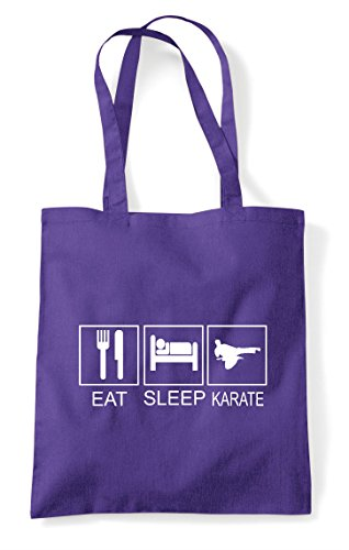 Shopper Hobby Bag Tiles Funny Purple Activity Karate Eat Sleep Tote wOqIHHfx