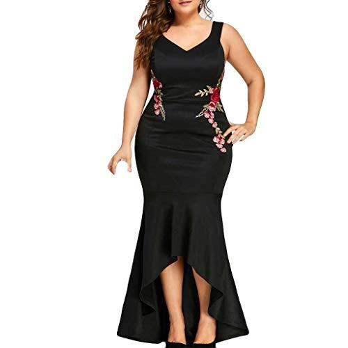 Women Bodycon Elegant Dresses | Plus Size Halter V-Neck Embroidery Floral Front Short Work Party Long Dress (XXXXXL, Black)