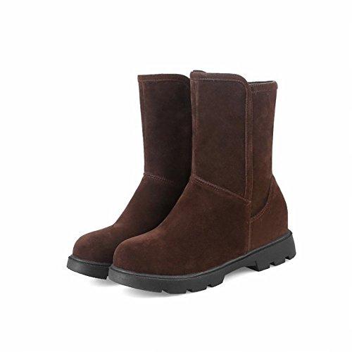 Charm Foot Womens Comfort Zip Tacco Piatto Stivaletti Bassi Marrone