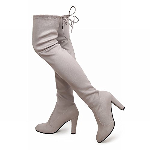 Carolbar Womens Lace Up Sexy Fashion High Heel Over The Knee Dress Boots Grey dyQe05