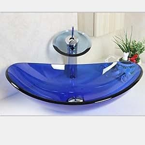 Lingote de zafiro vidrio templado lavabo de vidrio con for Amazon lavabos