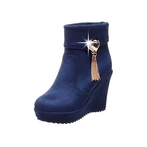 AmoonyFashion Womens Low-top Solid Pull-on Round Closed Toe High-Heels Boots Blue pRLSlmYTZ
