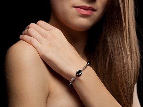 Yves Camani Bracelet en céramique noire/argent/orné de pierres