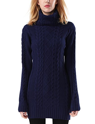 Rocorose Women's Turtleneck Sweater Tunic Cable Knitted Long Sleeves Navy S ()
