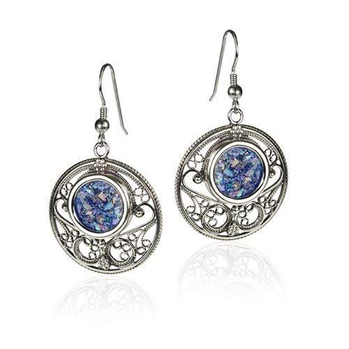 Roman Glass & 925 Sterling Silver Circular Filigree Earrings ()