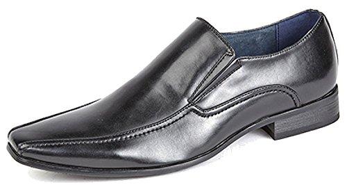 Route21 Paire de chaussures pour homme avec double soufflet et doublure en cuir Tailles 39-48 - noir - noir,