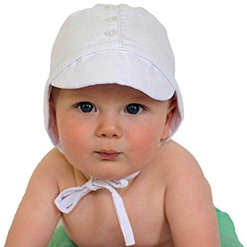 Huggalugs Baby Boys White Corduroy Bonnet 3-6