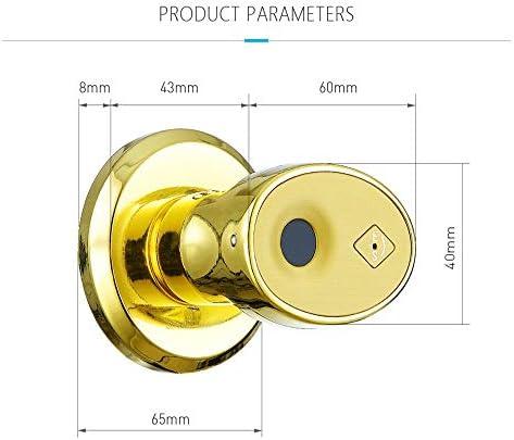 電子ドアロック ステンレススマートバイオメトリクス指紋防水IP65ドアロックキーレスエントリー電子デッドボルトシリンダーインテリアドアロック 電子錠 (Color : Gold, Size : One size)