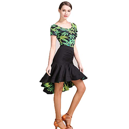 ZTXY Practice Dance Outfits OriginalDesigns Falbala Green Floral PrintsLatin Belly DanceCostume Halloween Dance lacy Long Sleeves VoluminousSkirt Large Size XL 2XL,L
