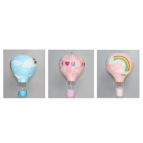 Kloud City ® 3PCS 9.75'' Different Design Assorted Paper Air Balloons Lantern For Festival Outdoor Decoration ( Pink, Blue and Pink)