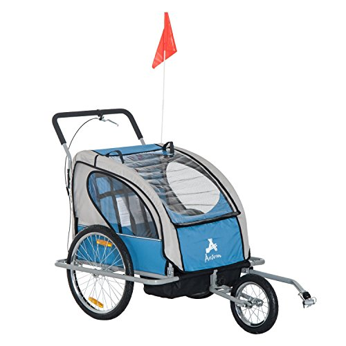 Aosom Elite 2-in-1 Three-Wheel Bicycle Cargo Trailer & Jogger for Two Children with 2 Safety Harnesses & Storage