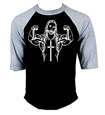 Men's Buff Jesus Bodybuilding Baseball T-Shirt Gray/Black S-3XL