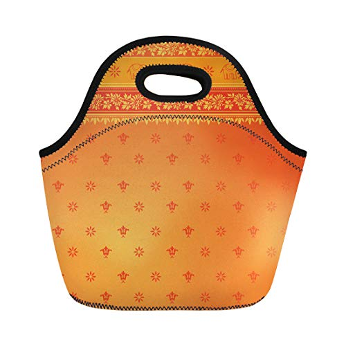 Semtomn Neoprene Lunch Tote Bag Red Indian Orange Sari Border Pattern Dress India East Reusable Cooler Bags Insulated Thermal Picnic Handbag for Travel,School,Outdoors,Work