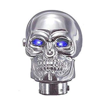 Gear Stick Shift Knob - TOOGOO(R) Universal Chrome Skull Car Manual Gear Stick Shift Shifter Knob Lever Blue LED ()