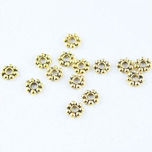 Spacer Bali Daisy Style Beads - Beautiful Bead 200pcs 4mm Stylish Vintage Antique Gold Round Tibetan Daisy Spacer Metal Beads