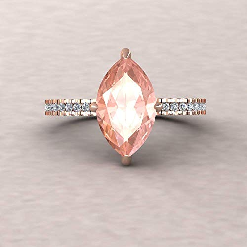 Natural Morganite Engagement Ring - 12x6mm Marquise Solitaire