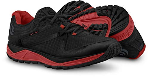 Topo Athletic Men's MT-3 Trail Running Shoe, Black/Red, Size 10 (Best Stable Running Shoes)