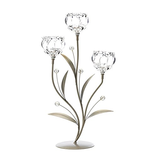 - Sunshine Megastore Crystal Flower Triple Candle Holder
