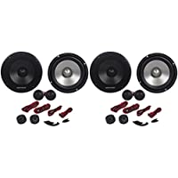 "(2) Rockville RVL6KIT 6.5"" Pair of Component Speakers Totaling 1600 Watt With Aluminum Cone/Silk Dome With Tweeters and Grills"
