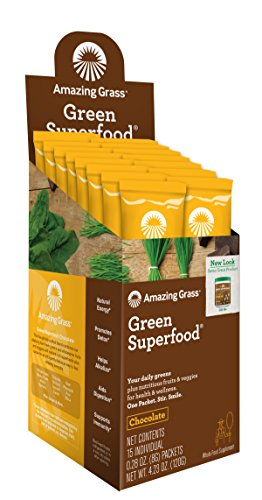 Amazing Grass Green Superfood Organic Powder with Wheat Grass and Greens Flavor Chocolate Box of 15 Individual Servings Discount