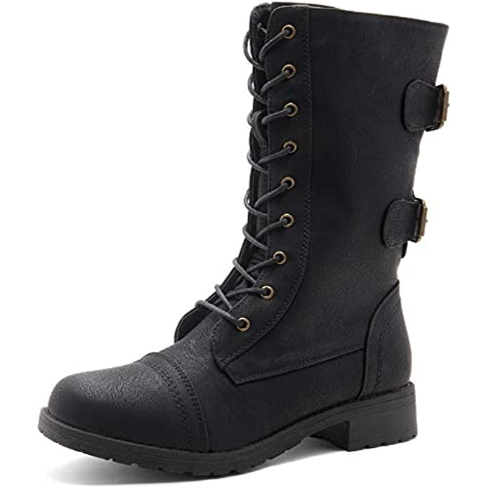 Herstyle Florence2 Women's Ankle Lace Up Military Combat Booties Mid Calf Boots