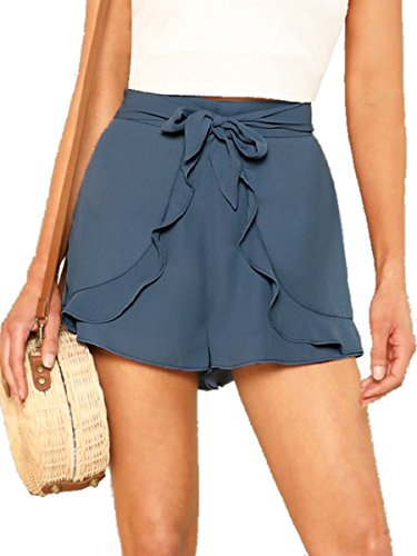 Romwe Women's Casual Tie Knot Summer Shorts Elegant Walking Shorts Blue L by Romwe