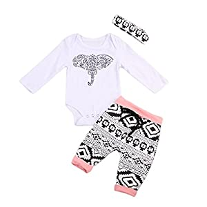 cfc3abdc367 Mornbaby 3Pcs Set Newborn Baby Girl Boy Long Sleeve Elephant Bodysuit +  Geometric Pants + Headband Outfit Clothes