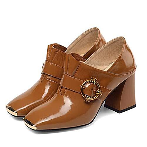 Chaussures Dames 2019 a Nouveau Gfphfm Square 36 De Pour En automne Fashion Tête FemmesBouton Bouche Talons B Métal Haut Printemps Profonde VpqLzGSUM