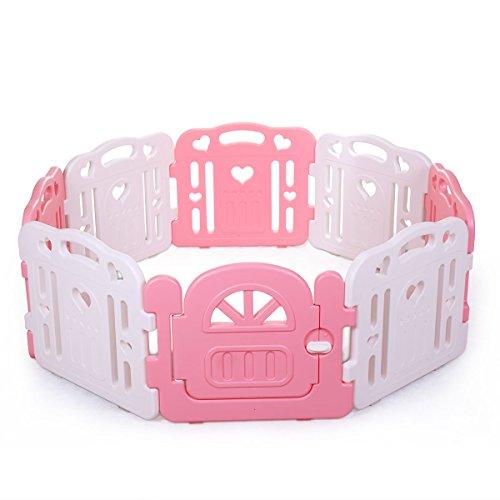 Tobbi Baby Playpen Safety Play Center Yard Baby Kids Home Indoor Outdoor Pen 8 Panel Pink White