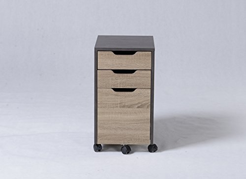 Homestar 3-Drawer Filing Cabinet, 13'' x 17.7'' x 23.6'', Reclaimed Wood/Java Brown by Home Star