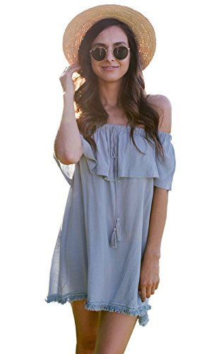 Easel Nashville Linen Tunic Crochet Trim Tassel Faded Blue Tunic - Stores Outlet Nashville