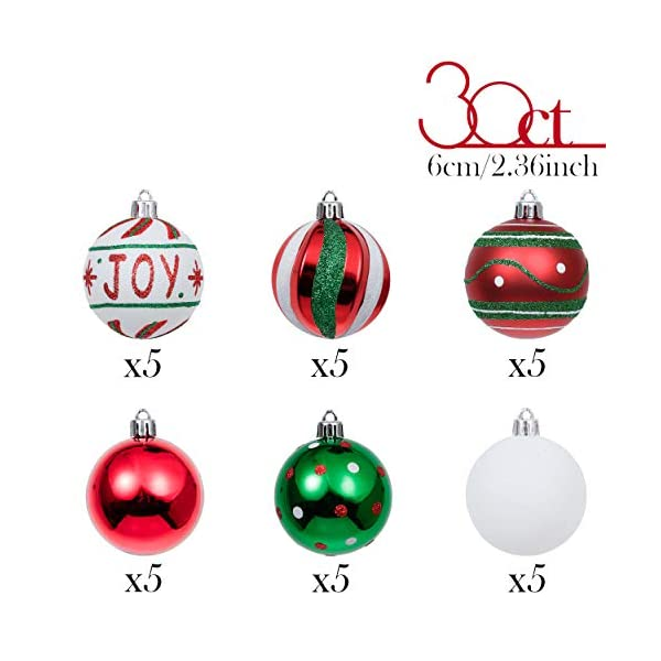 Valery Madelyn Palle di Natale 30 Pezzi 6cm Palline di Natale, Collezione Classica Rosso Verde e Bianco Infrangibile Ornamenti di Palla di Natale Decorazione per la Decorazione Dell'Albero di Natale 3 spesavip