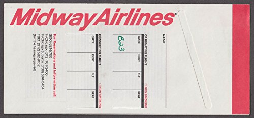 Midway Airlines airline ticket wrapper with US Sprint FONCARD promo 1989