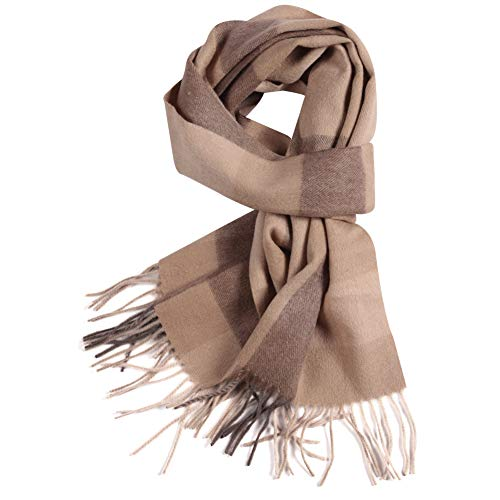WAMSOFT Fringe Scarf Plaid, Mens Womens Premium Cozy Tartan Scarf Wrap Shawl Neck Stole Warm Plaid Checked Pashmina(1 Pack-Camel Plaid)