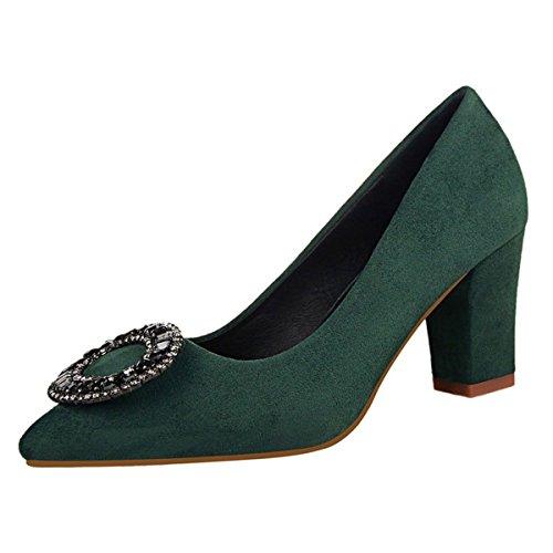 Dark Chunky Toe Pointed Women Heel jntworld Faux Pumps Suede Rhinestone Buckle Green 0WvnfH