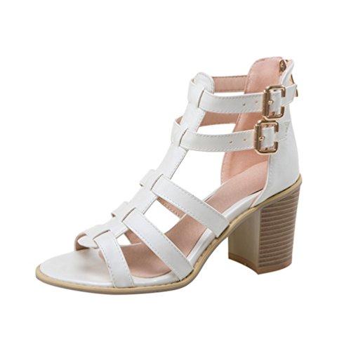 YOUJIA Women Zip Peep Toe Block Heel Buckle Roman Sandals Gladiator Shoes White