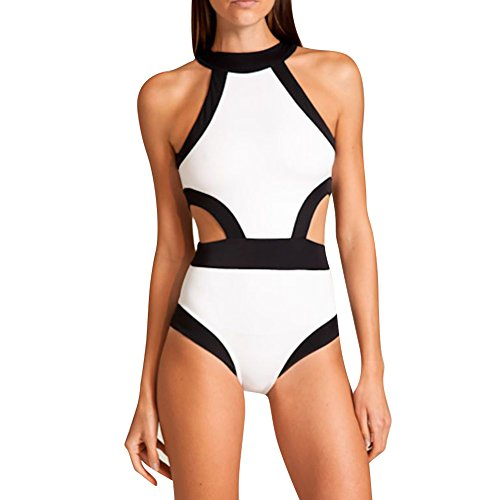 YOUR GALLERY Women's Sexy New Cutout One Piece High Neck Bikini Beachwear Medium White