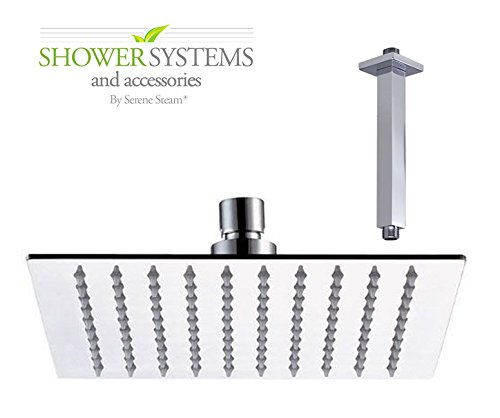 Luxury Ultra-Thin High Pressure 10'' Square Rainfall Shower head Plus 10 inch Extension Arm Shower System and Accessories by Serene Steam (Poliched (Showerhead Accessory 10' Ceiling Mount)