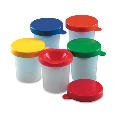 Charles Leonard Inclusive Paint Cups, Spill Proof with Inner and Outer Lids, Red, Yellow, Blue, Green, Orange, Brown, White, Black, Purple, Turquoise, 10 per Set (Cli Paint Cup)