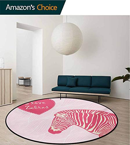 RUGSMAT Pink Zebra Non Slip Round Rugs,I Love Zebras in Heart Romantic Wilderness Nature Savannah Fashion Oriental Floor and Carpets,Diameter-47 Inch Pink Ivory Pale Pink (Buy Rug Zebra)