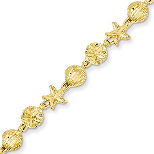 14k Gold Starfish Seashell & Sand Dollar Beach Theme Bracelet with Lobster Clasp (5.9mm) - Yellow-Gold, 7 in by Jewel Tie