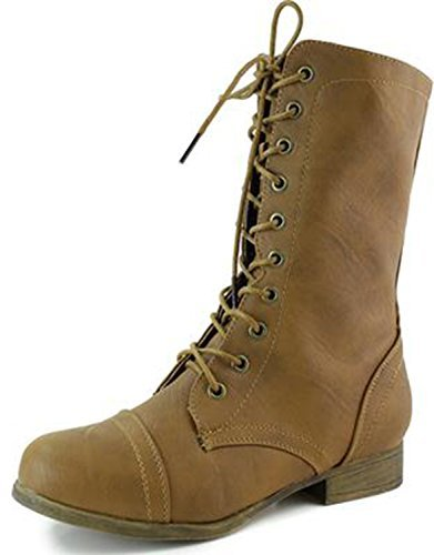 Top Moda Women's Lace Up Cowboy Ankle Mid Knee Combat Military Inspiring Boot Tan