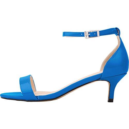 Chaussure Mariage Soirée Cheville Vernis 35 Escarpins Moyen Femme Bleu Ouvert Bout Boucle Bride Wealsex 42 Sandales Talon Confort Cuir qg7Hw