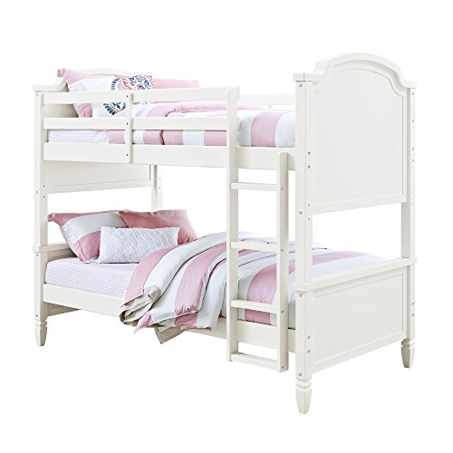 Convertible Twin-over-Twin Wooden Bunk Bed With Ladder, White